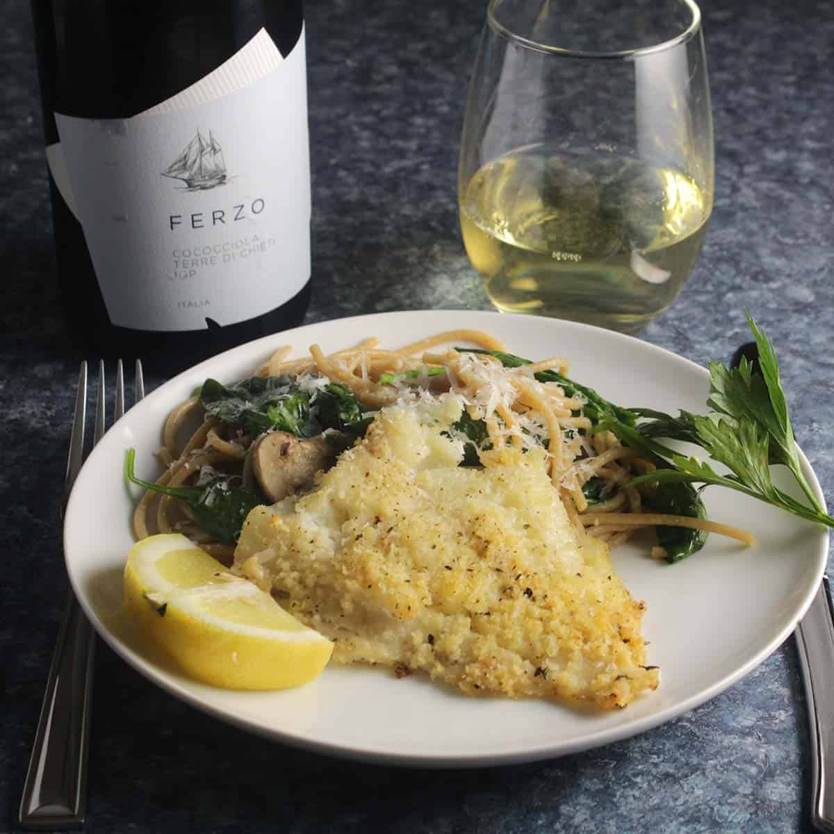 baked haddock with pasta and white wine