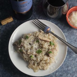 mushroom truffle risotto with red wine