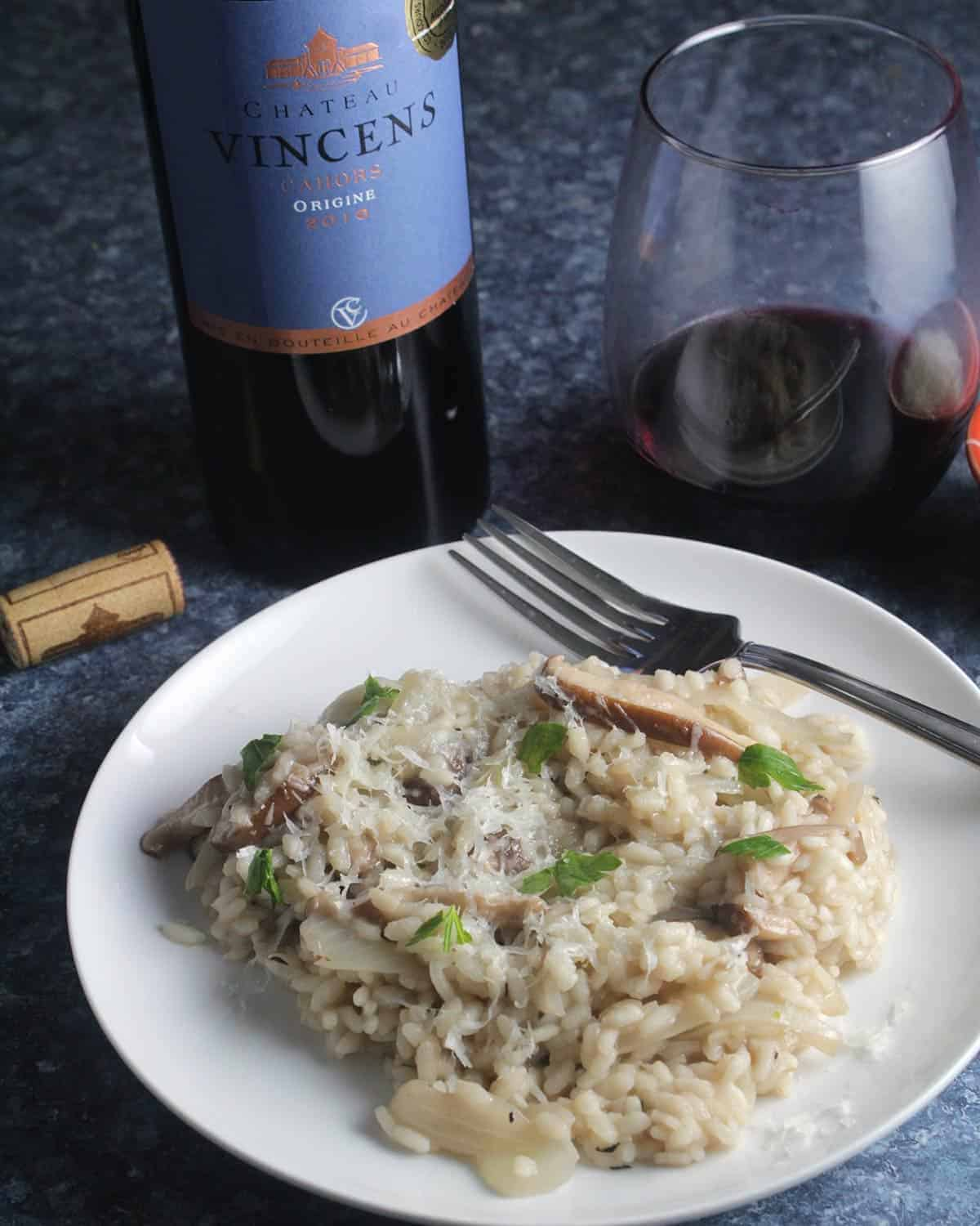 mushroom risotto paired with Cahors Malbec.