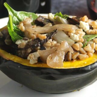 vegetarian stuffed acorn squash on a plate