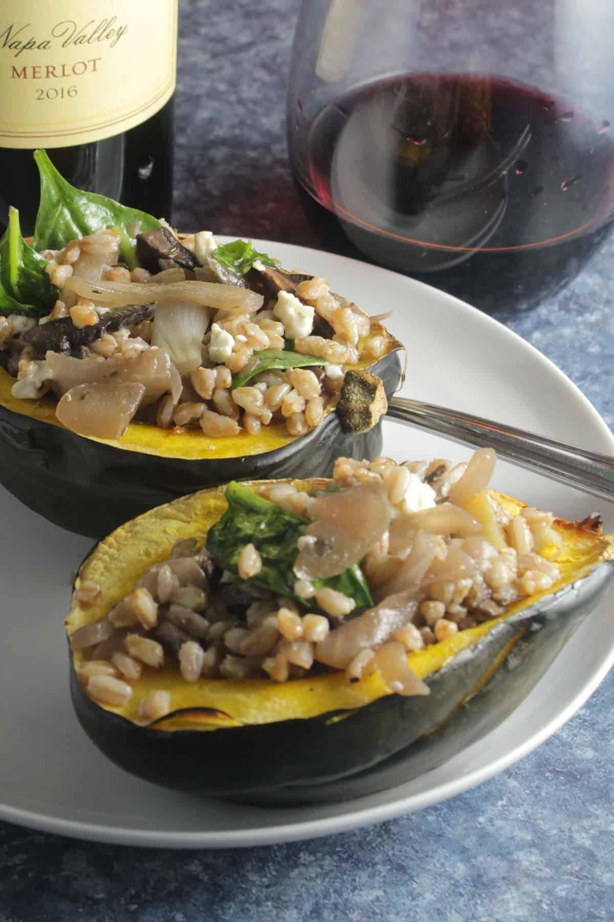 roasted acorn squash stuffed with farro and mushrooms