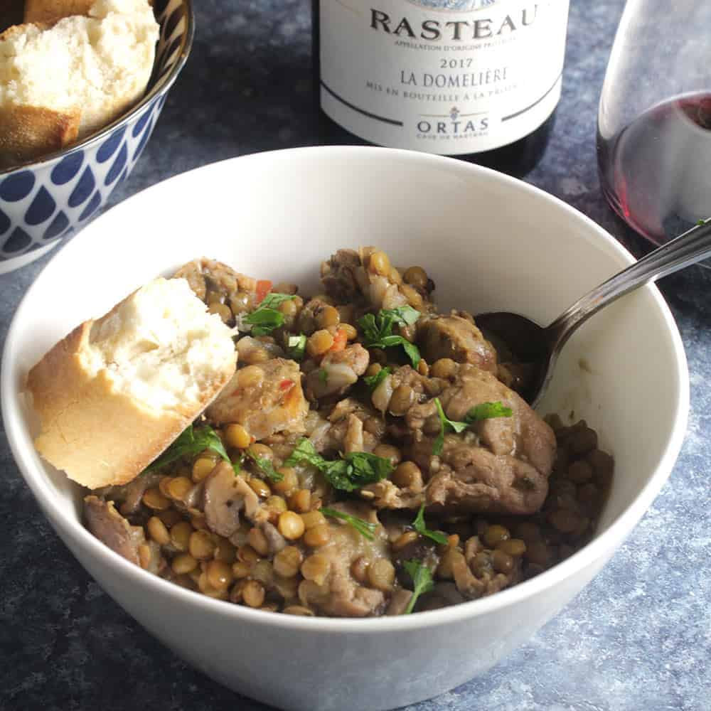 bowl of chicken and lentil stew with red wine.