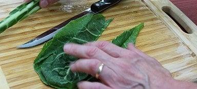 cutting collard green