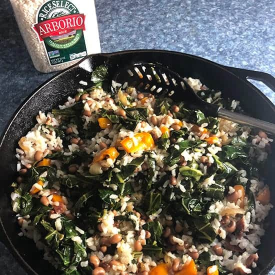 final preparation steps for Hoppin' John Risotto.