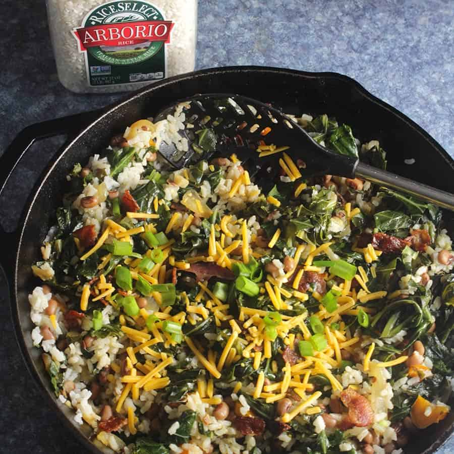 Hoppin' John Risotto in a skillet.
