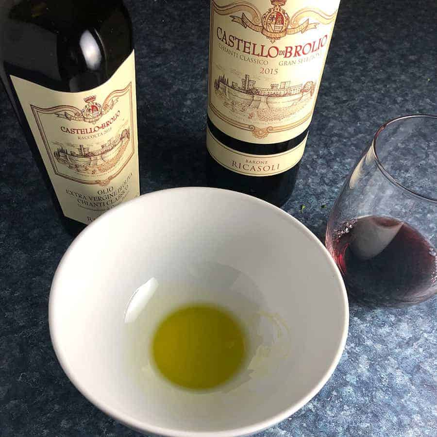 Extra virgin olive oil and red wine from Chianti.