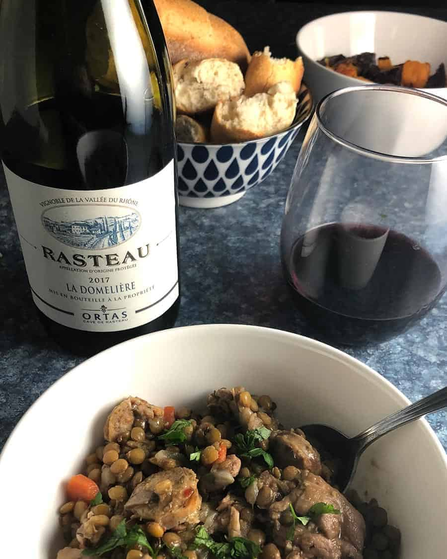 Cave de Rasteau La Domelière red blend from Rasteau served with stew.
