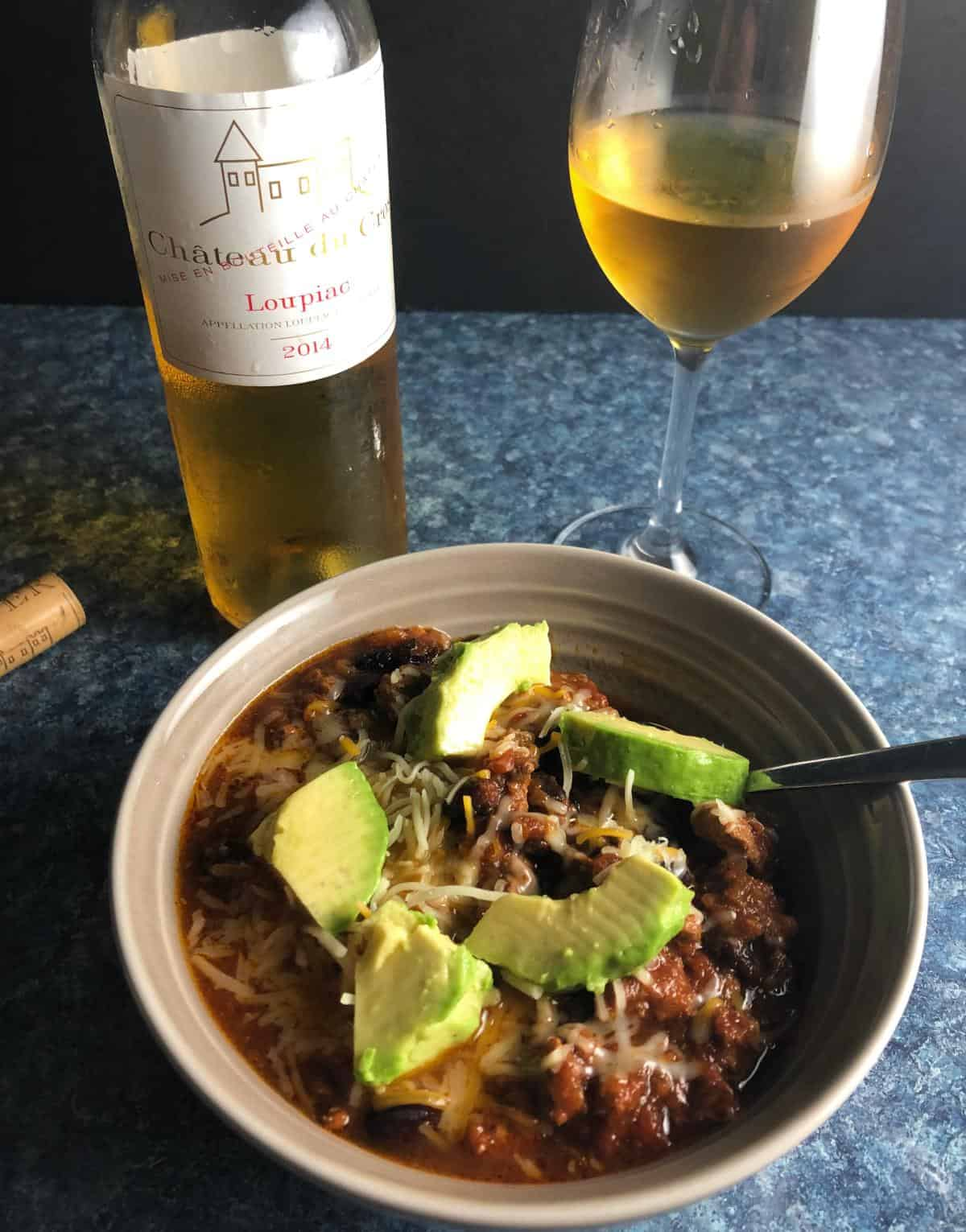turkey chili paired with a sweet Bordeaux wine.