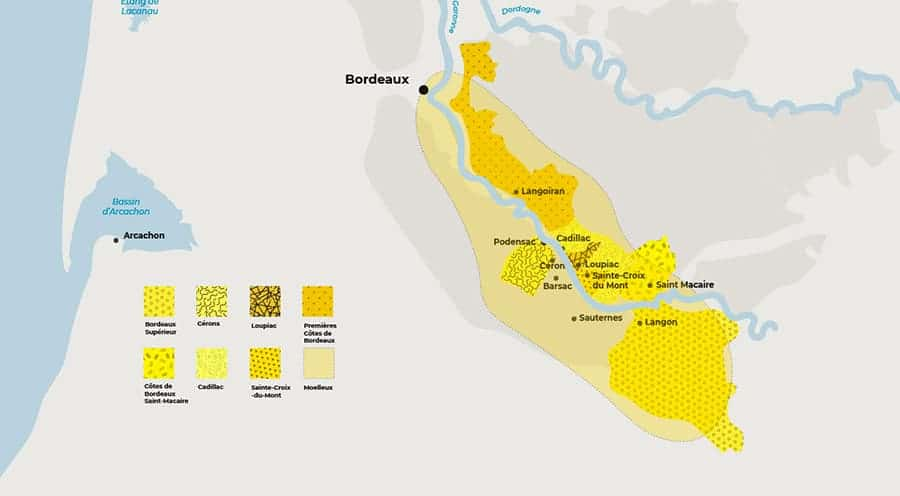 Map of Sweet Bordeaux AOCs