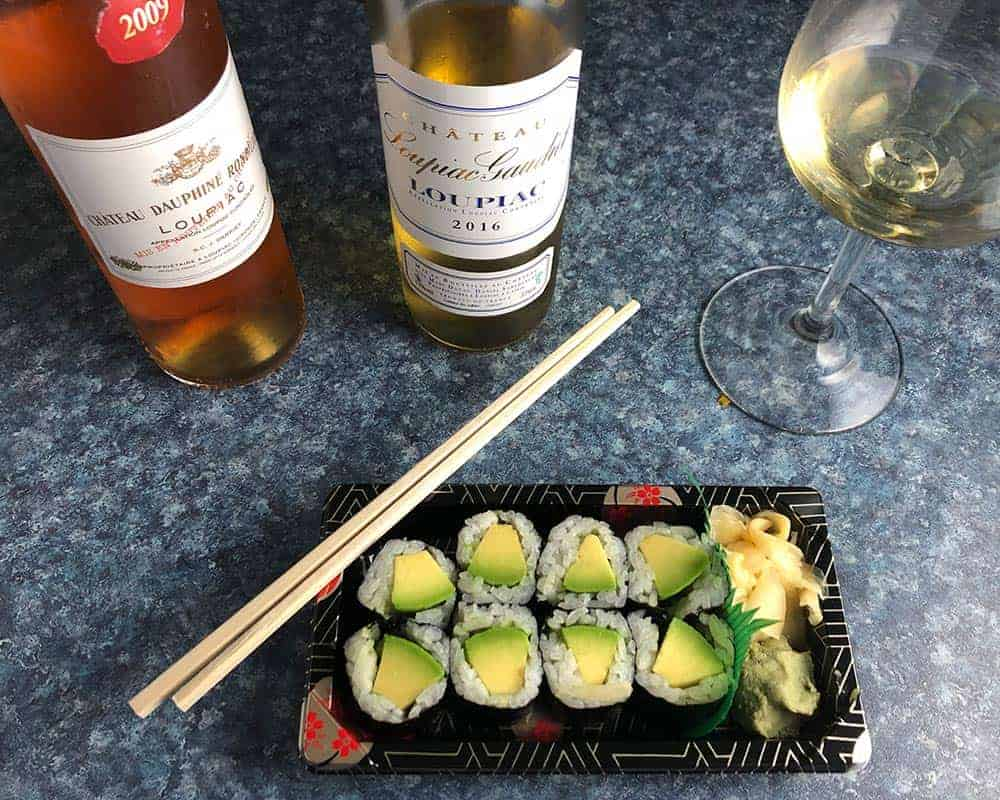 Sweet Bordeaux with sushi