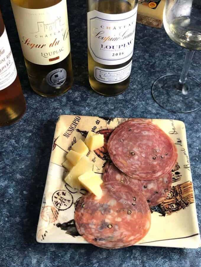 Sweet Bordeaux wine with salty and savory snacks.