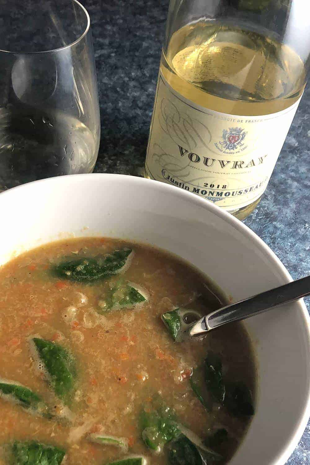 Lentil Soup paired with Vouvray white wine.