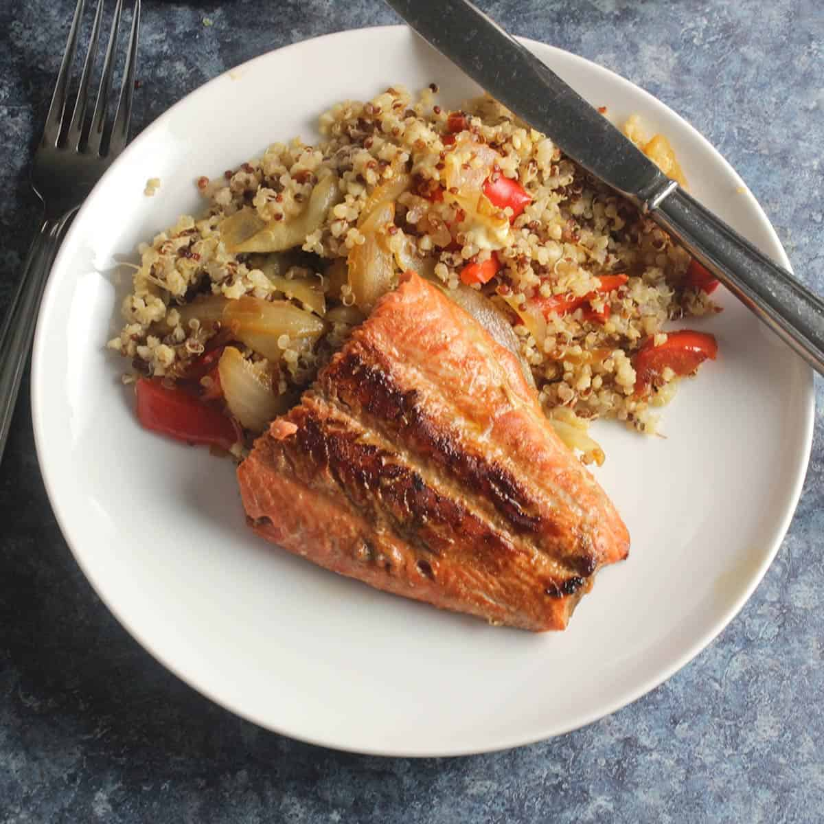 salmon served with quinoa.