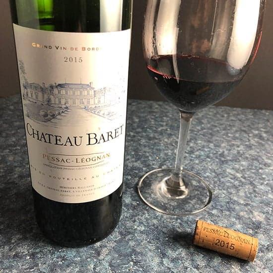 bottle of Chateau Baret red Bordeaux blend.