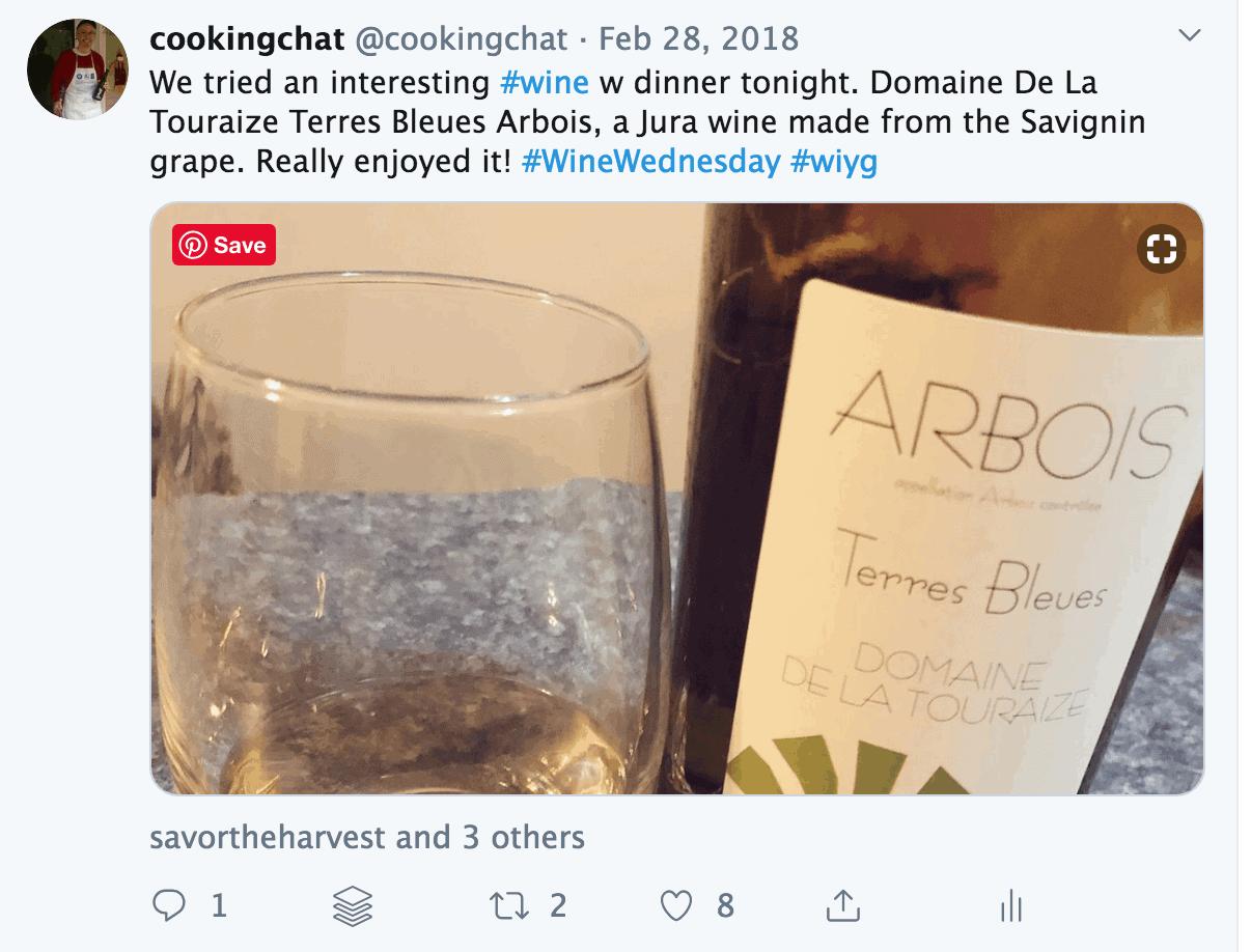 screen shot from Twitter mentioning Savignan grape.