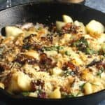 potato bacon casserole in a skillet