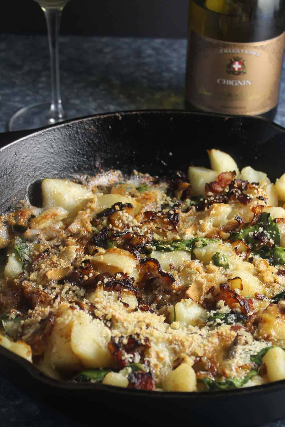 potato bacon skillet casserole with wine