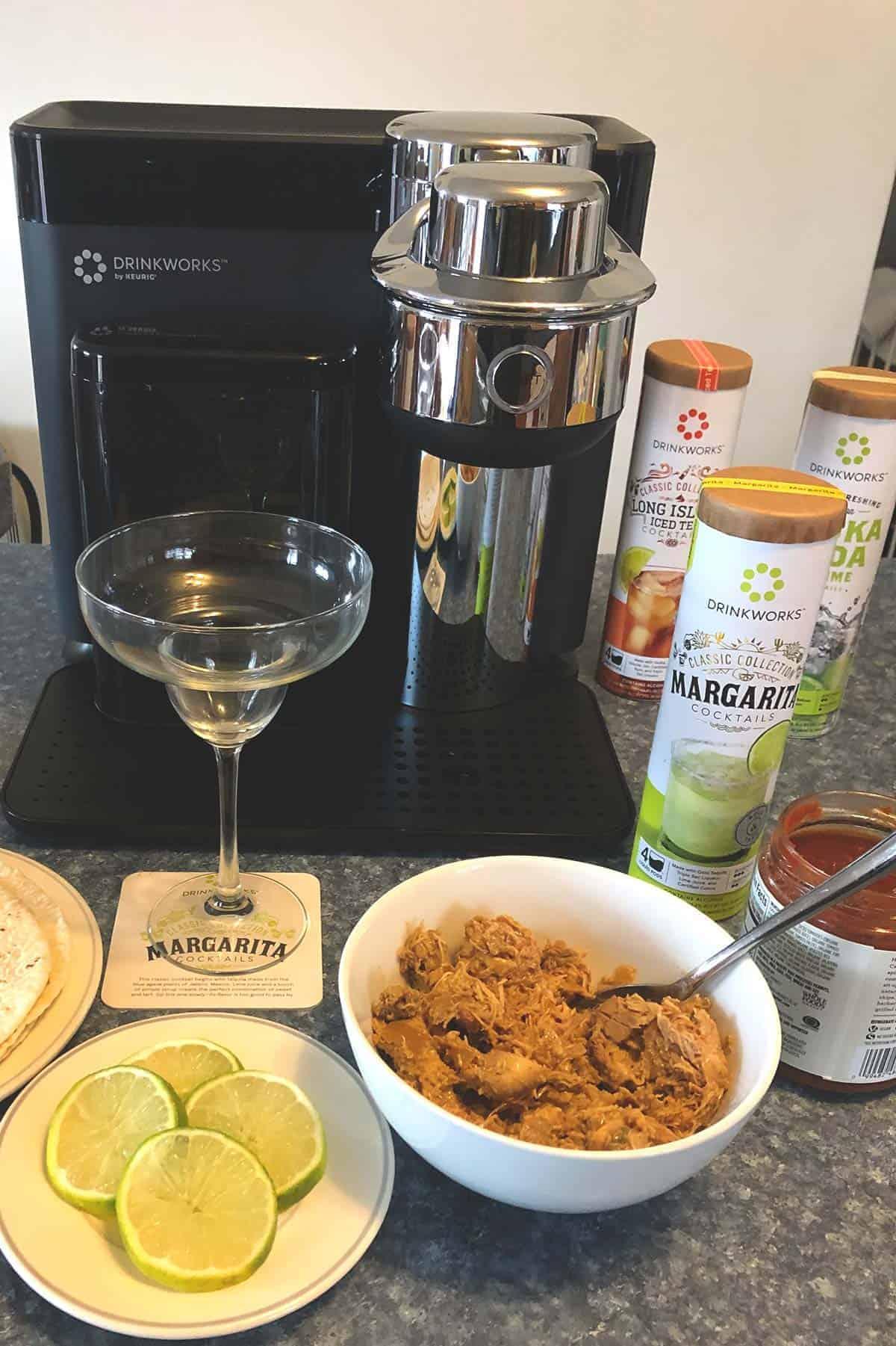 Drinkworks Home Bar set up to make margaritas for taco night.