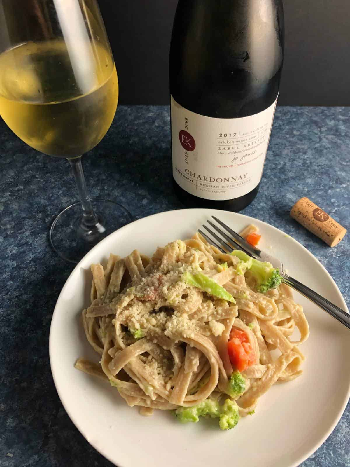 fettuccine primavera paired with Chardonnay.