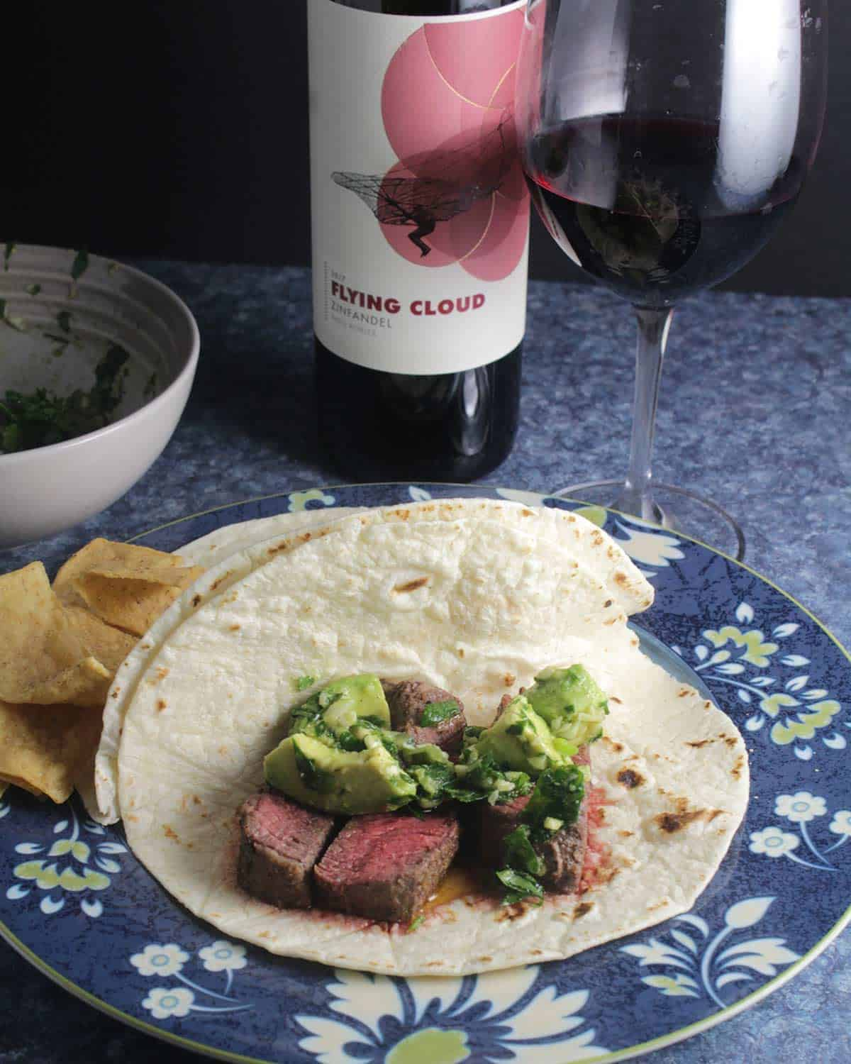 Flying Cloud Zinfandel with tacos.