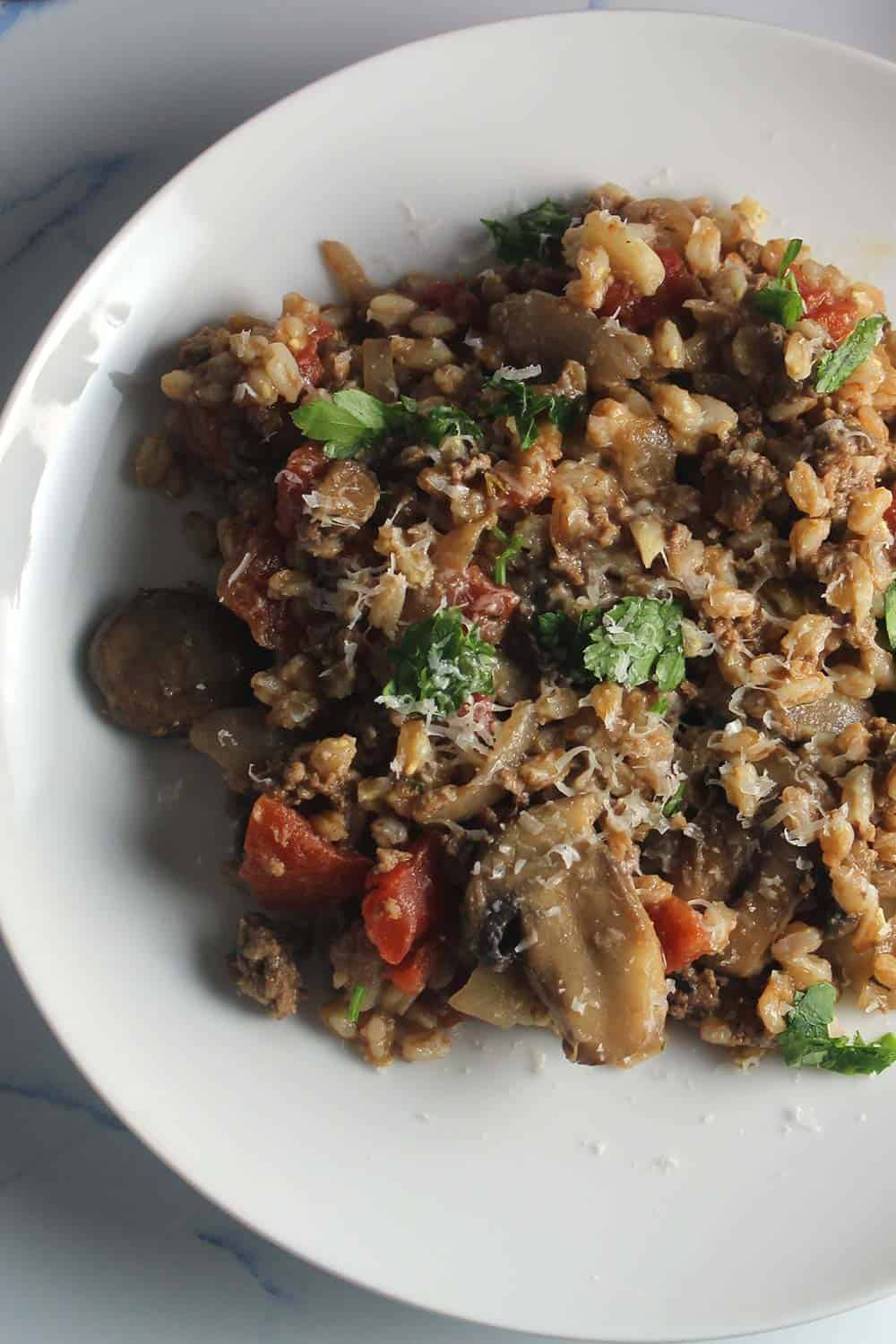 farro recipe with ground beef and mushrooms.