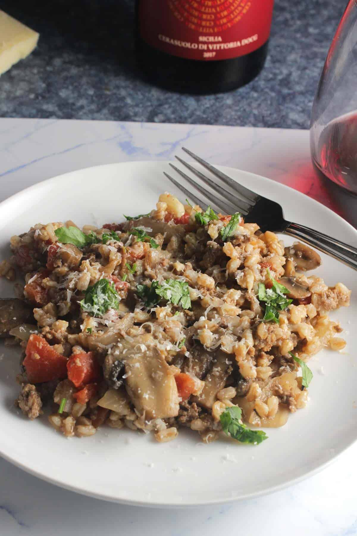 farro with ground beef and mushrooms.