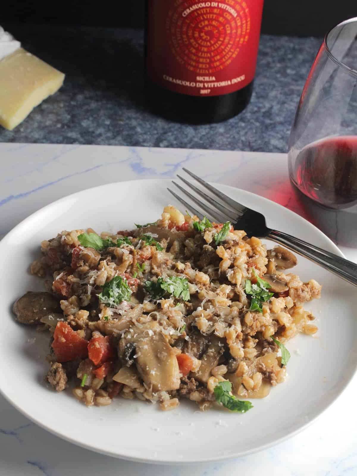 Sicilian red wine with farro dish.