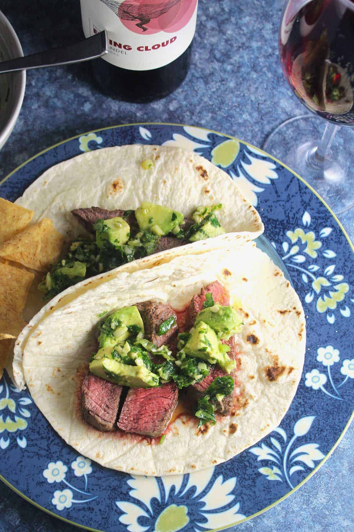steak tacos with red wine.