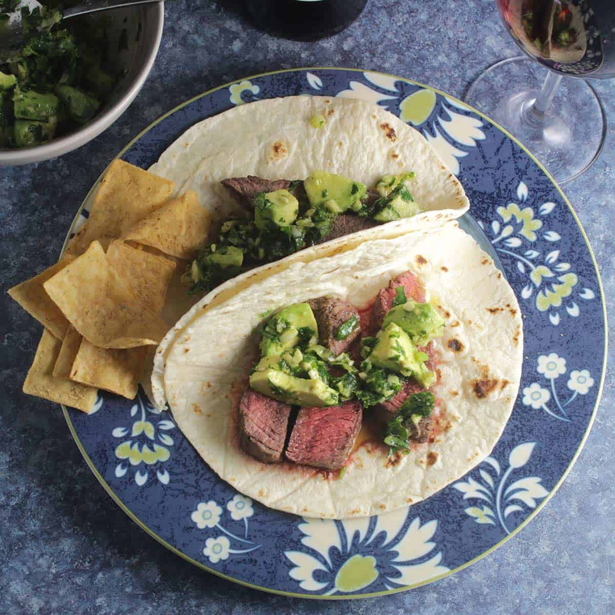 sirloin steak tacos with avocado sauce