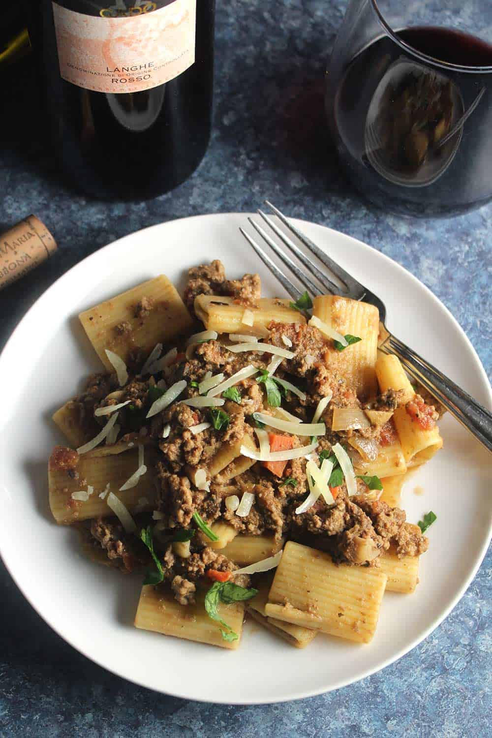 ground turkey bolognese served with red wine.