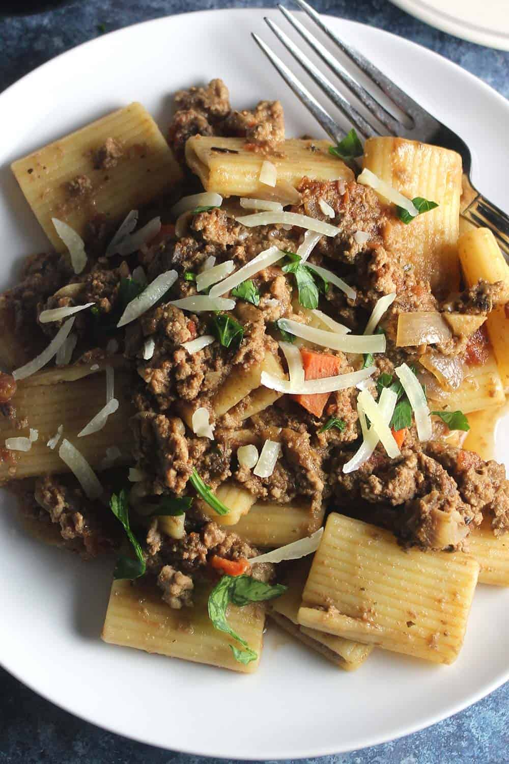 turkey bolognese on a plate.