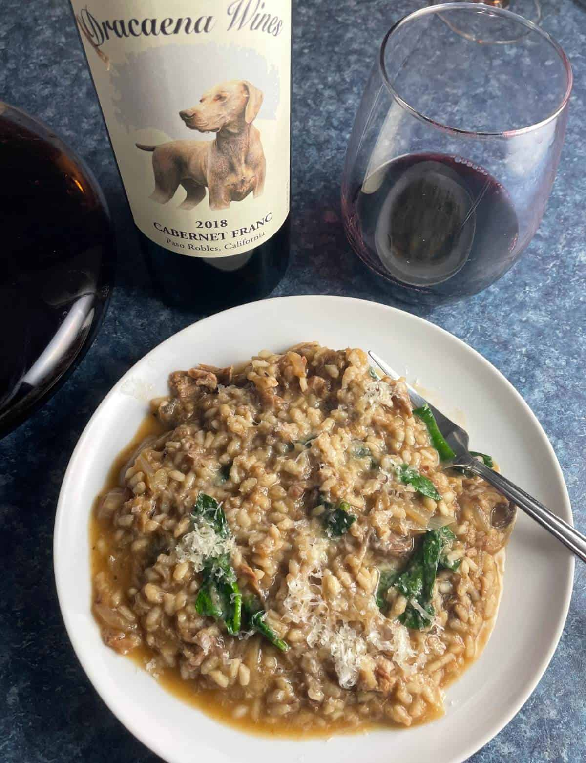 plate of pulled pork risotto served with red wine.
