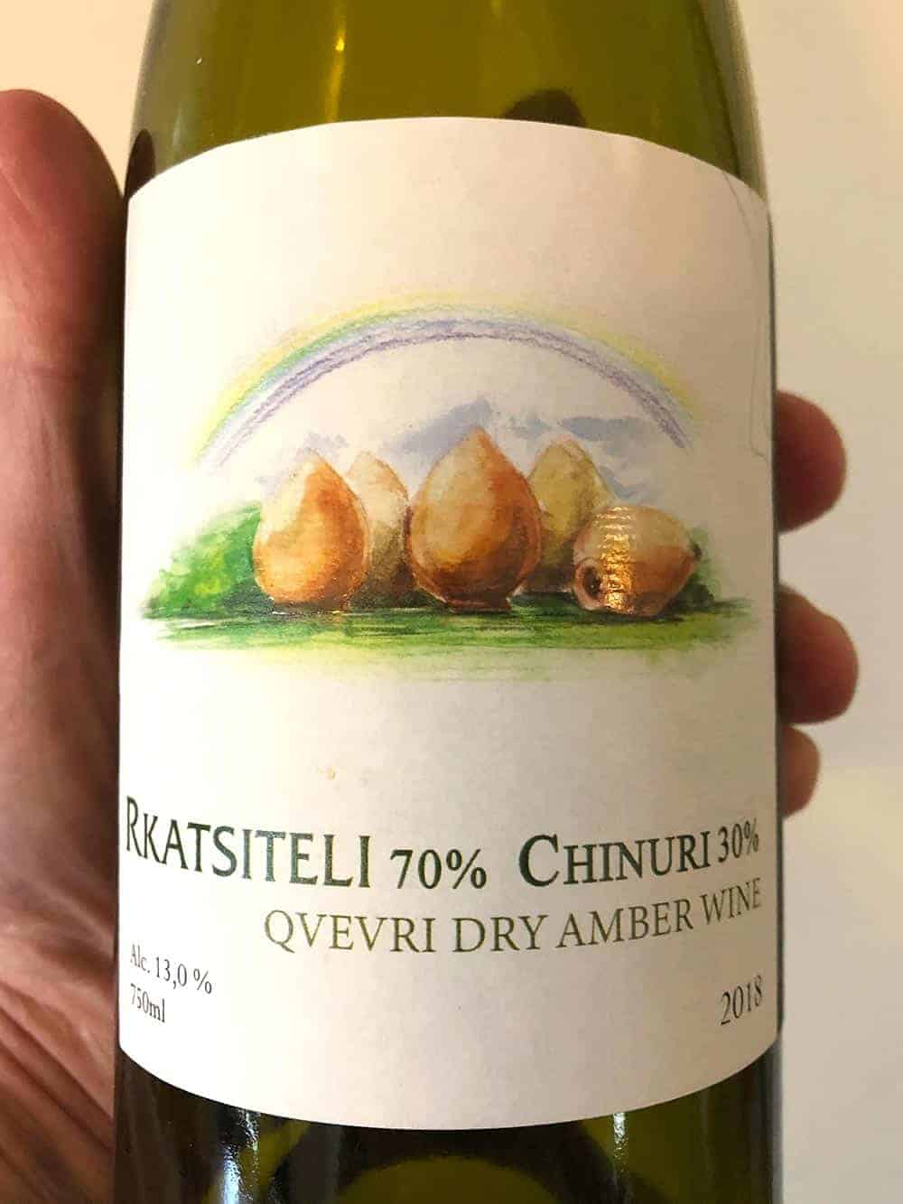 label closeup of Chubini amber wine