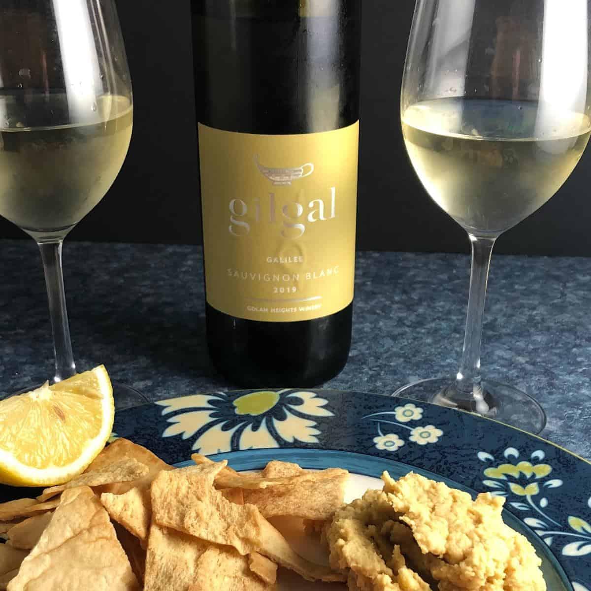 Gilgal Sauvignon Blanc paired with hummus.