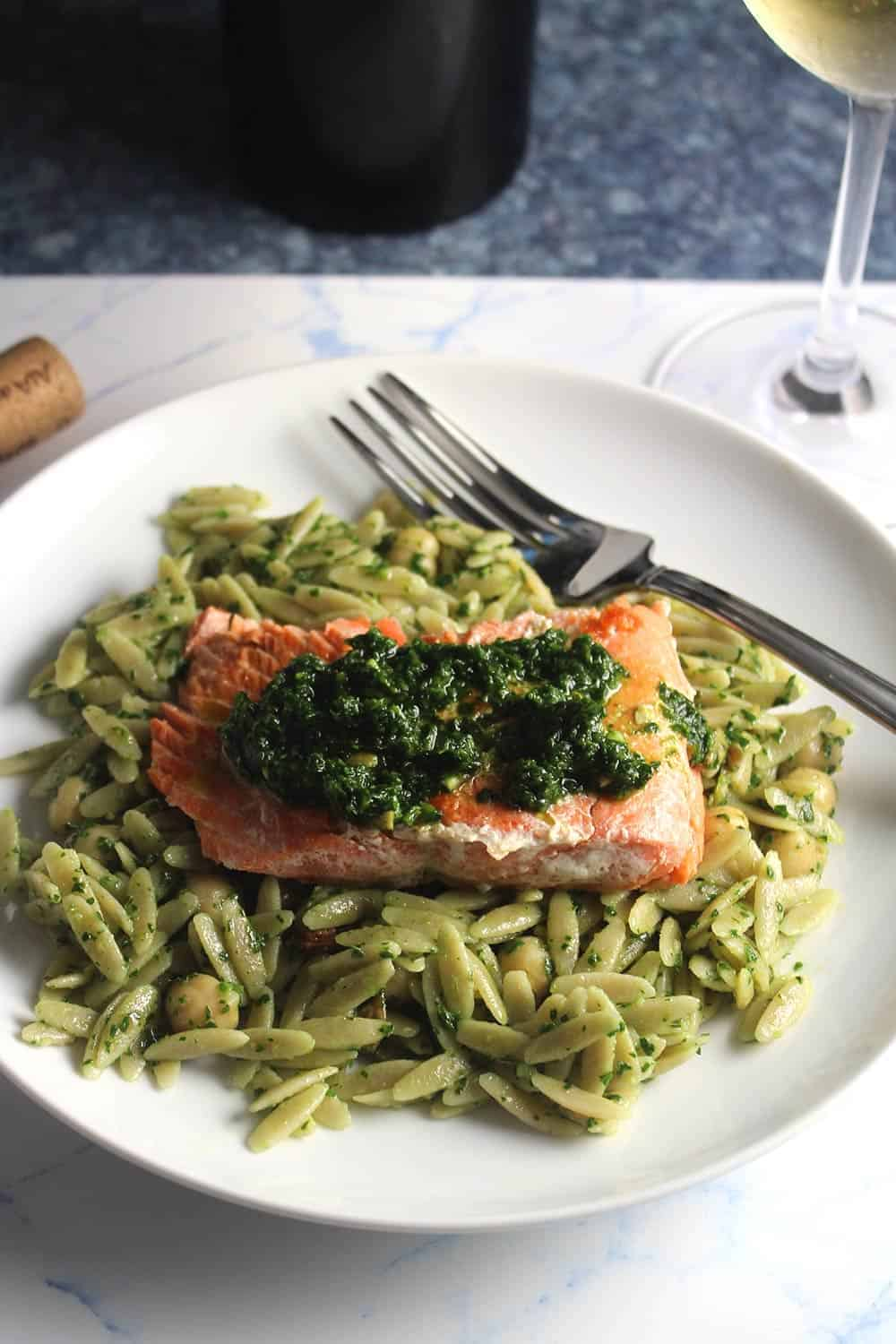 salmon with pesto served with orzo