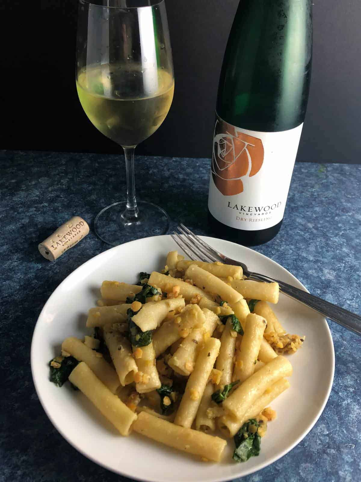 Lakewood Riesling with pasta