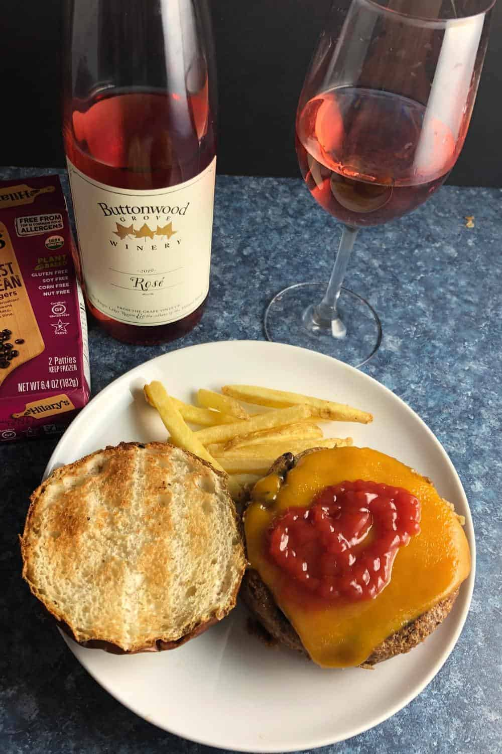 rosé wine served with a veggie burger.