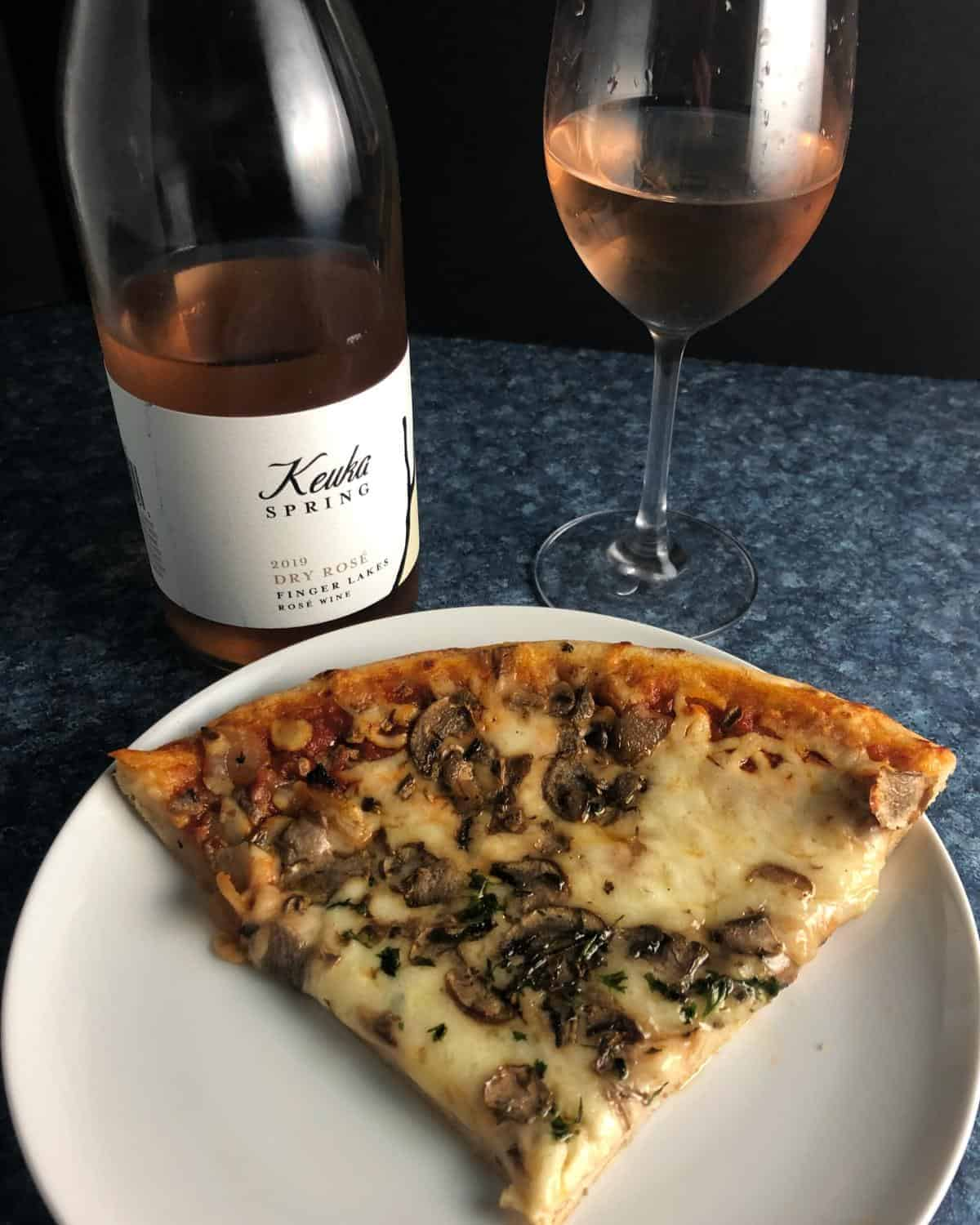 Keuka Springs rose with pizza