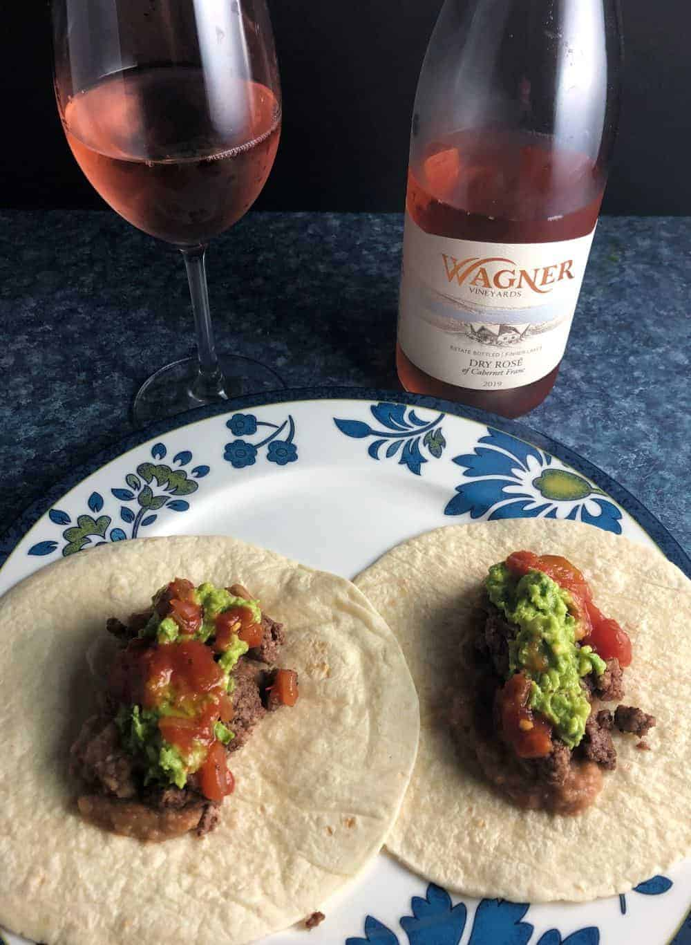 tacos paired with rosé wine.