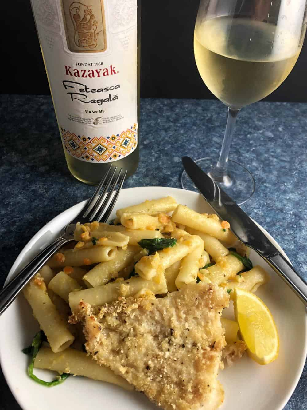 white wine from Moldova with fish and pasta.