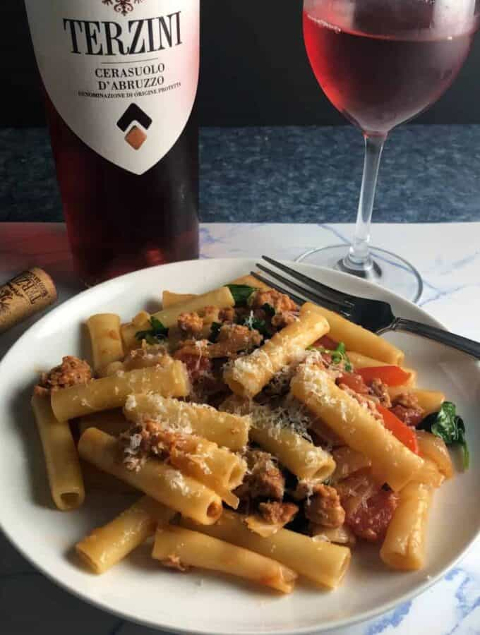 vegetarian sausage pasta paired with a cerasuolo rosé wine