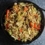 turkey and cabbage in black skillet