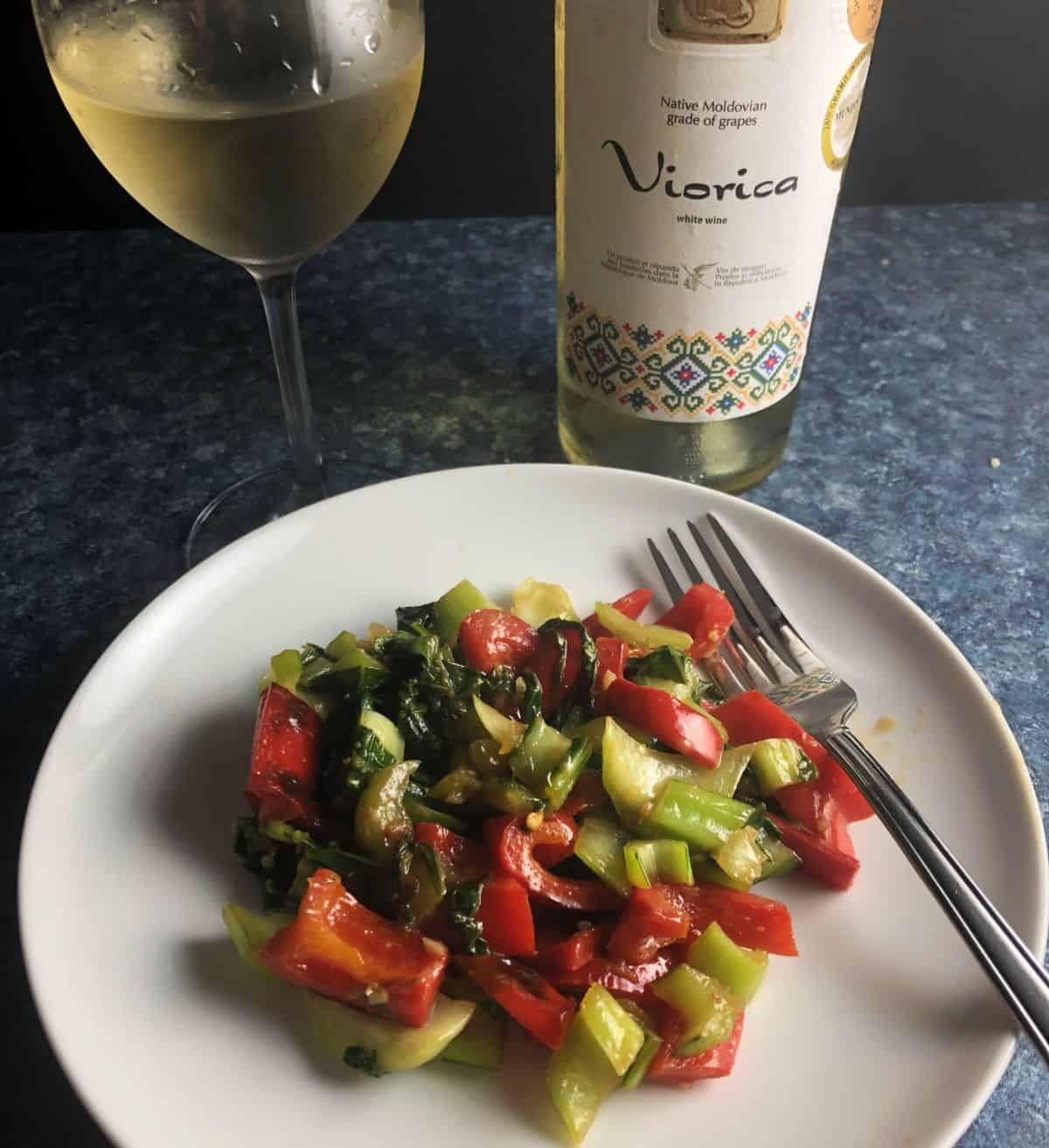 Viorica white wine served with bok choy stir-fry.