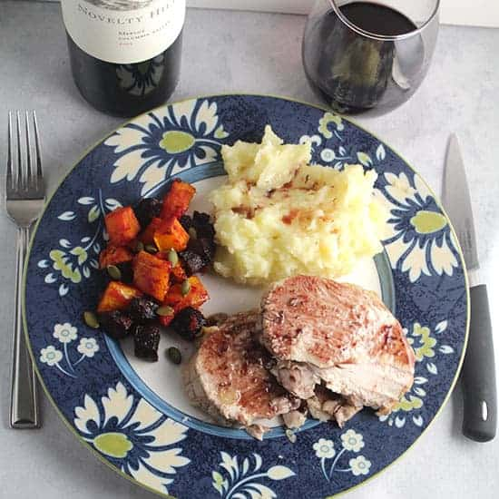 roast turkey breast with cranberry merlot sauce and a red wine