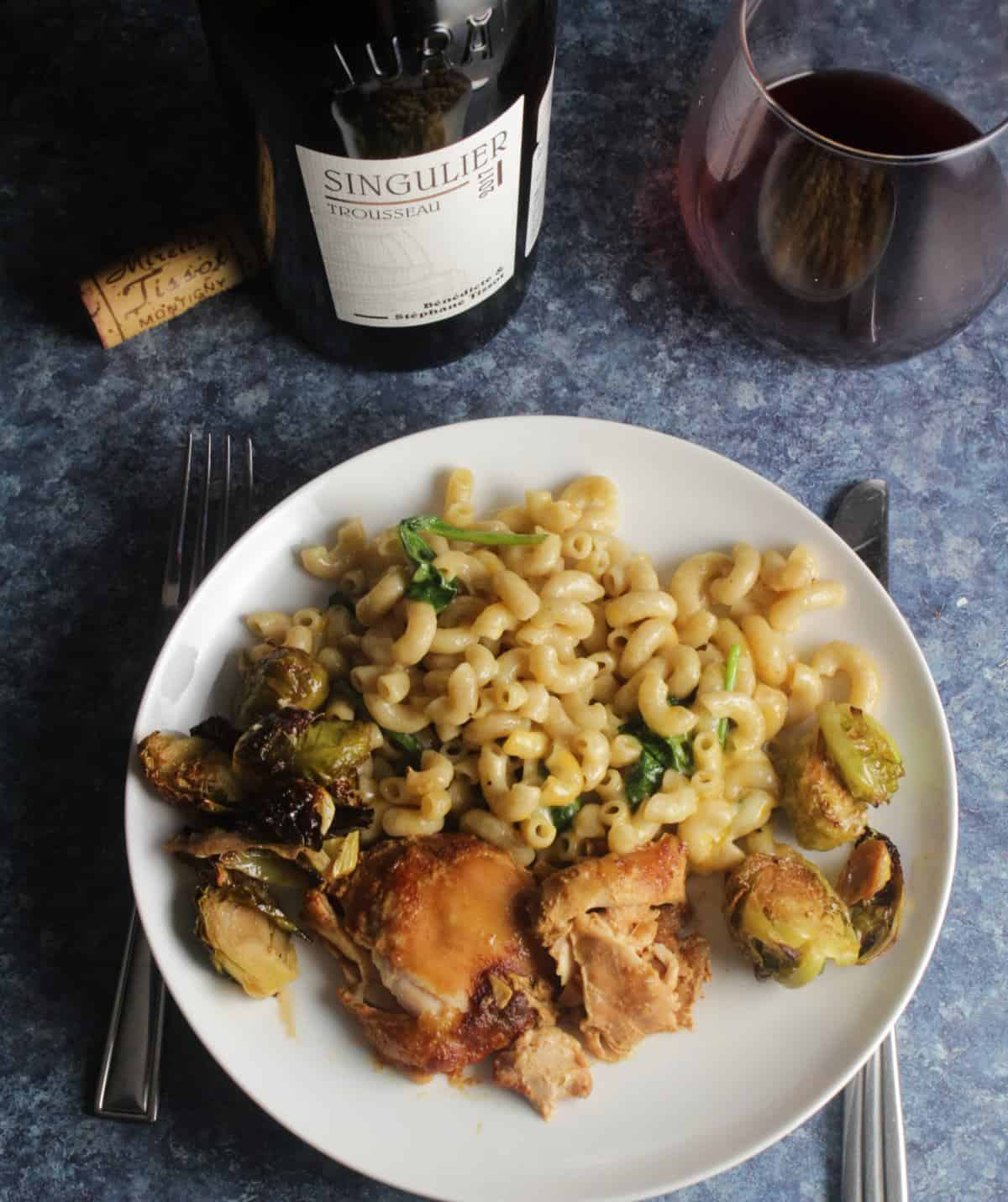 BBQ Chicken Thighs with a red wine from France.