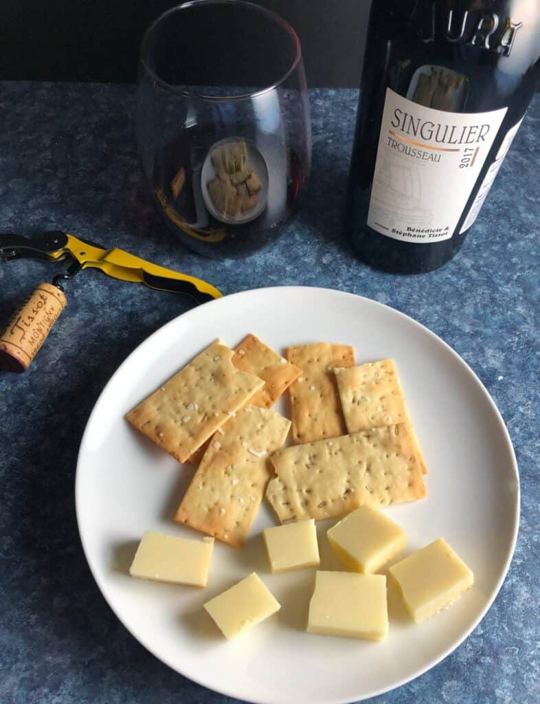Trousseau red wine with Comte cheese plate.