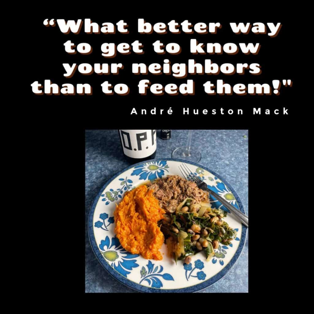 quote from André Hueston Mack along with a photo of Cooking Chat meal served with OPP Willamette Pinot Noir.