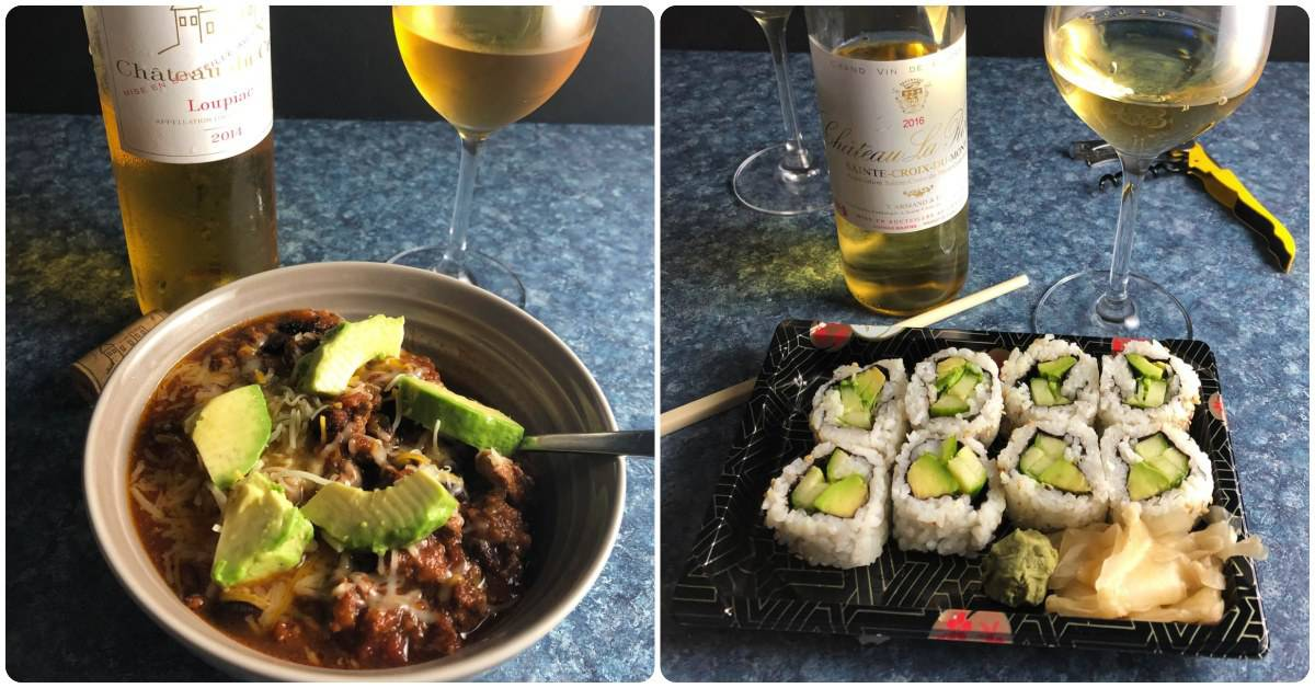 collage showing two food pairings for Sweet Bordeaux wine -- chili on the left, sushi on the right.