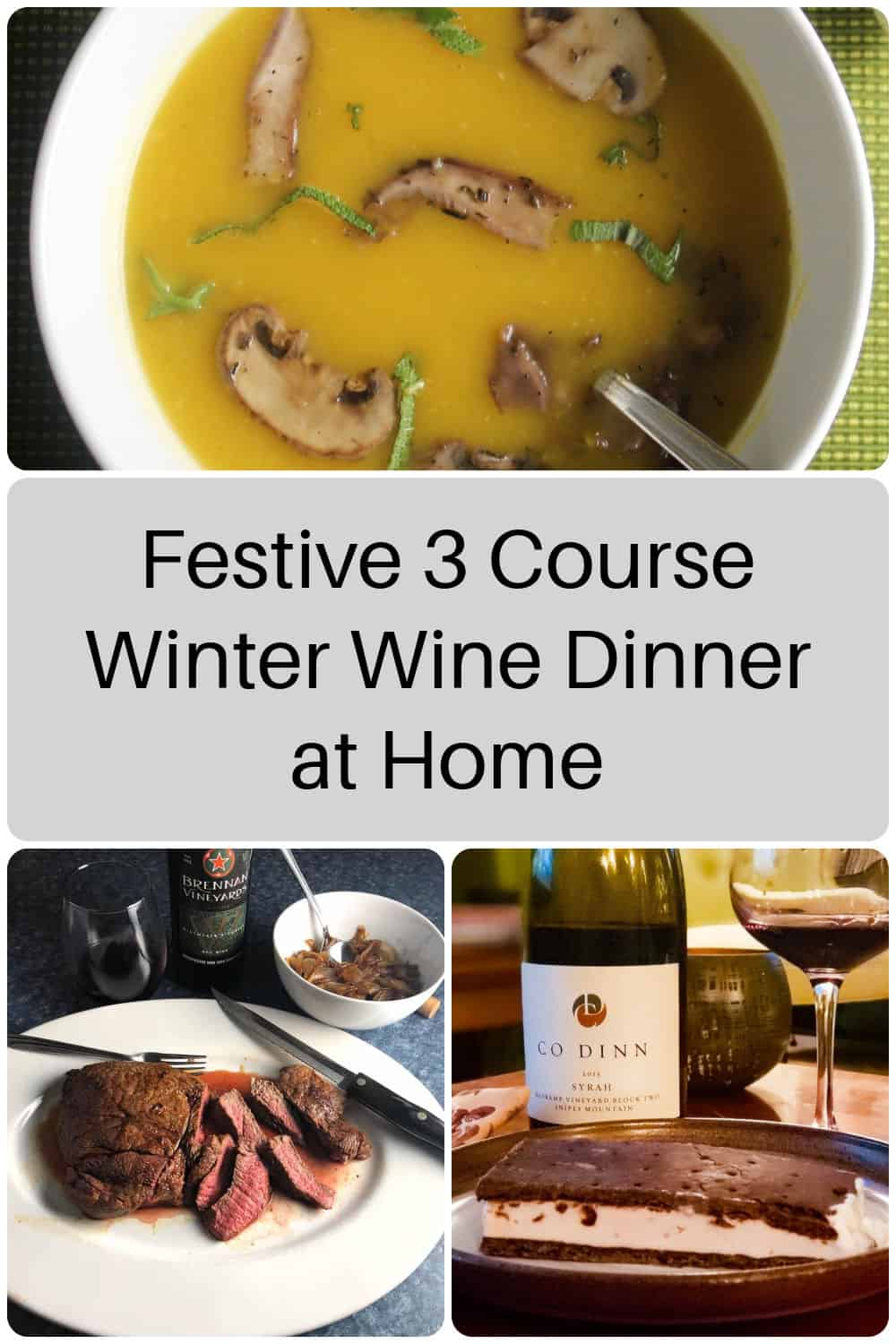 collage with three images showing different courses of a wine pairing dinner.