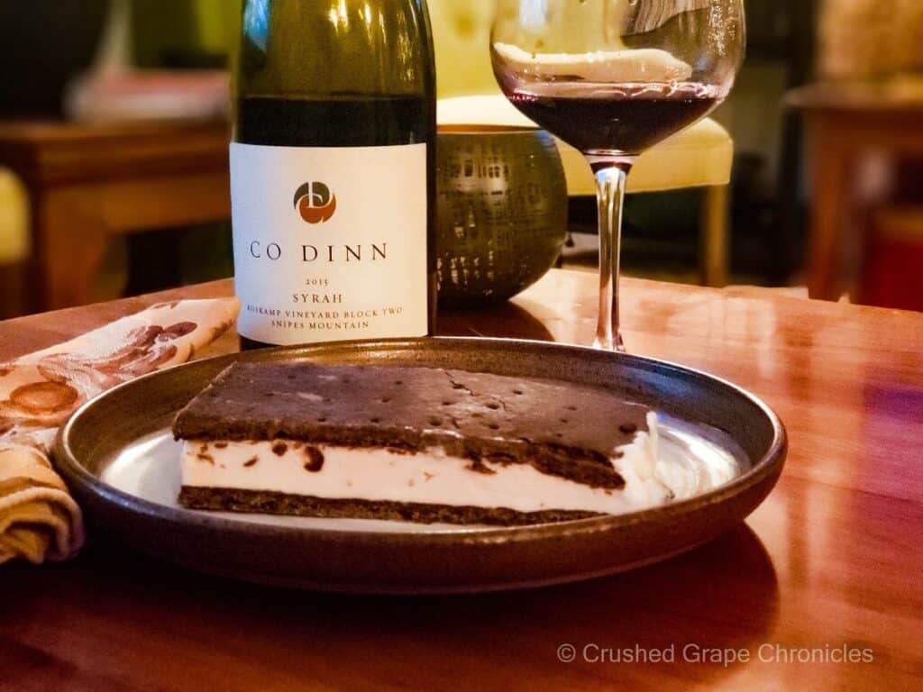Black cherry ice cream sandwiches served with a Syrah. Image from Crushed Grape Chronicles.